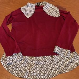 Investments Petite long sleeve collared sweater